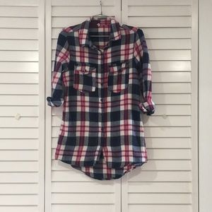 Tops - Fuchsia and Navy Plaid Flannel Top sz M